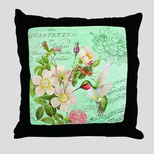 Modern vintage french hummingbird Throw Pillow